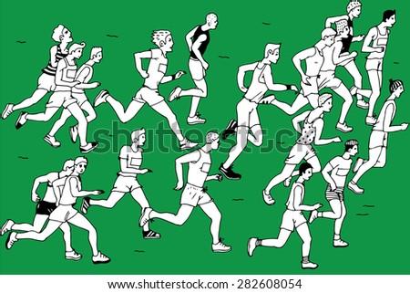 Group of man Marathon Runners,vector - stock vector