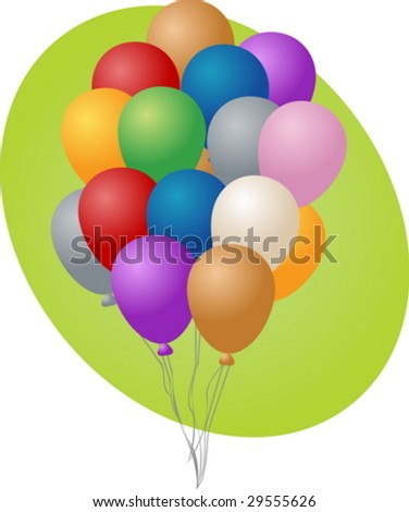 Group of many festive colored balloons illustration