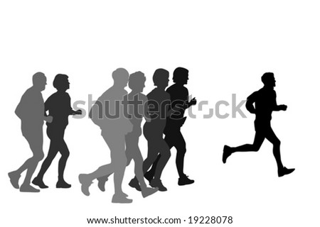 group of marathon runners,profile - stock vector