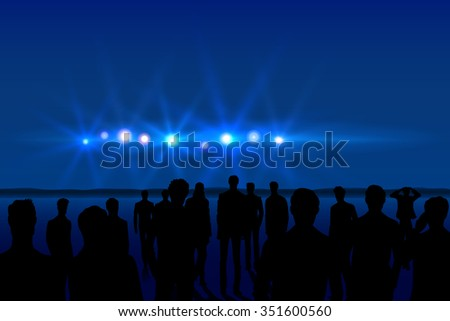 Group of men seeing UFO in the dark sky - stock vector