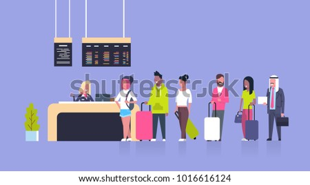 Group Of Mix Race Passengers Standing In Queue To Counter Check In Airport, Departures Board Concept Flat Vector Illustration