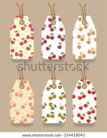 Group of modern, isolated tags on bright background