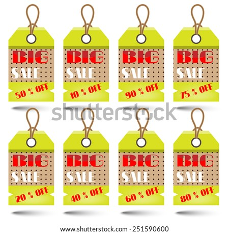 Group of modern, isolated tags on white background - stock vector