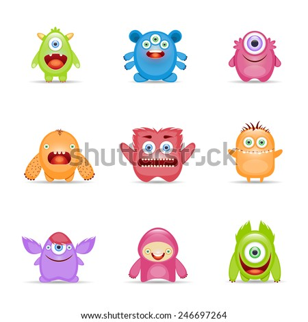 Group of monster alien mutant colorful character set isolated vector illustration - stock vector