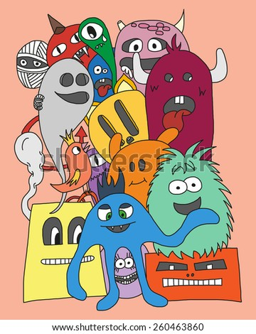 Group of Monsters. Colorful vector illustration in bright colors