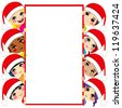 Group of multi-ethnic kids wearing Santa Claus hats holding a blank white placard with copy space for text - stock vector