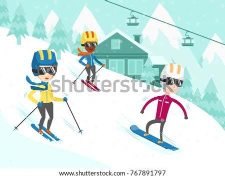 Group of multicultural people have fun while skiing and snowboarding on the slope. Young african-american and caucasian tourists at ski and snowboard winter resort. Vector cartoon illustration.