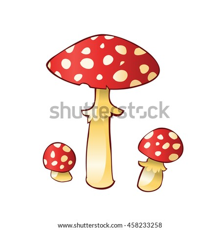 Group of mushroom amanita isolated on white background. Art vector illustration. - stock vector