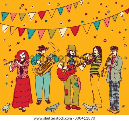 Group of musicians figures and birds and festival flags. Color vector illustration. Eps 8. - stock vector