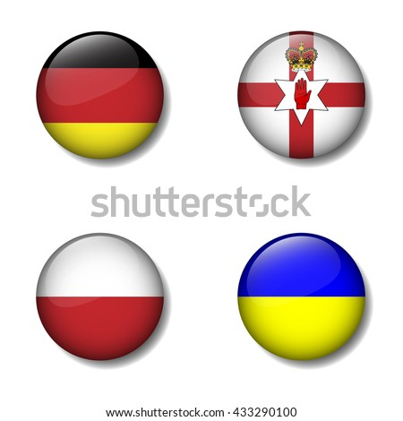 Group of Nation flag on button icon, German, Northern Ireland, Poland, Ukraine, Group C - stock vector