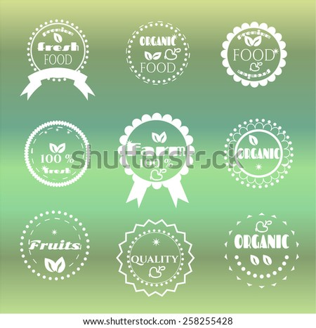 Group of nine labels on bright background