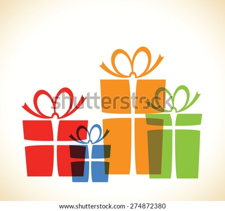 group of over lapping presents - stock vector