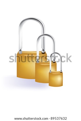 Group of padlock in different sizes