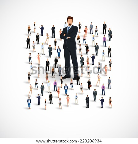 Group of people adult professionals business team with huge figure of young man vector illustration - stock vector