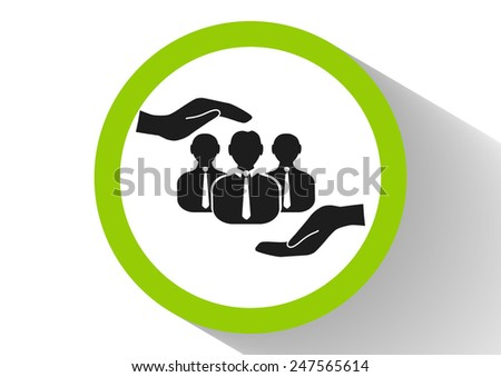 group of people and hand web icon. vector design