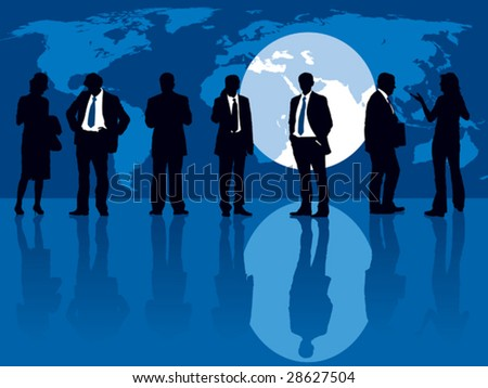 Group of people and one man selected, People are standing in front of a large display with world map. The base map is from Central Intelligence Agency Web site. - stock vector
