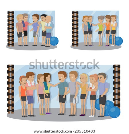 Group Of People At The Gym Set - Isolated On White Background - Vector Illustration, Graphic Design Editable For Your Design