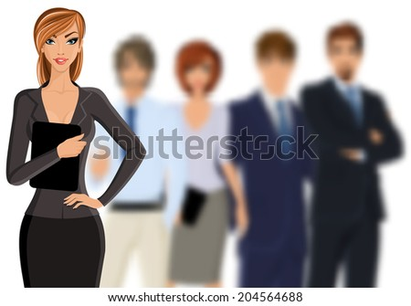 Group of people busines woman with team isolated on white vector illustration - stock vector