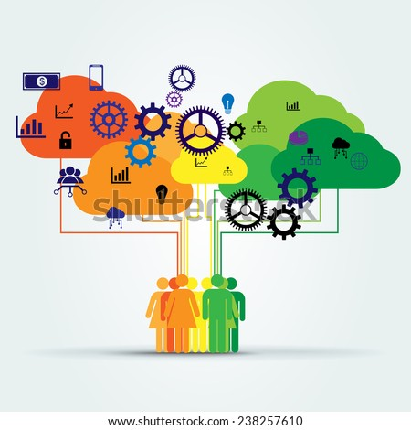 group of people connected to colorful data clouds and technology icons - stock vector