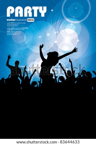 Group of people. Crowd infront of a stage. Vector - stock vector