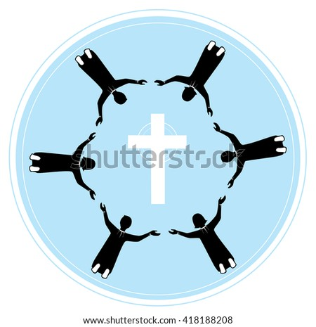 group of people holding hands with pray to God - stock vector
