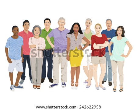 Group of People Illustrations Vector - stock vector