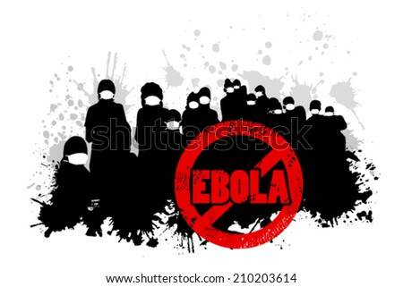 group of people in bandages. Ebola sign. Vector - stock vector