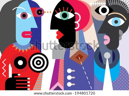 Group of people in carnival costumes - abstract art vector illustration. - stock vector