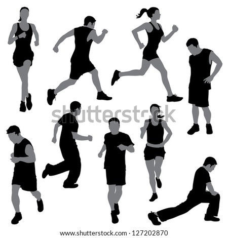 group of people in silhouettes running or jogging - stock vector