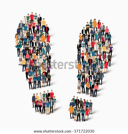 Group of people in the shape of traces. Vector illustration - stock vector