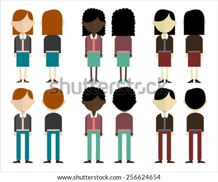 group of people in three different skin colors. front and back view. - stock vector