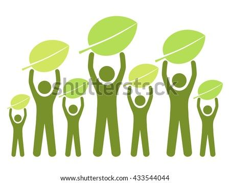 Group of people living green