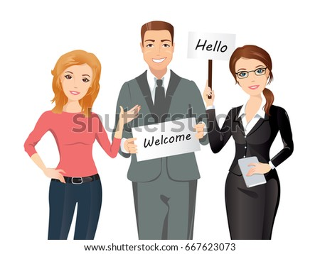 Group people meet someone two women stock vector 667623073 group of people meet someone two women and a man greet someone with broadsheets m4hsunfo
