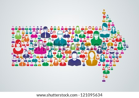 Group of people move forward in a united direction. - stock vector