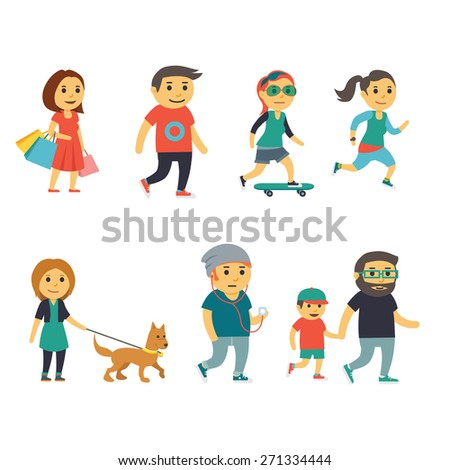 Group of People on the Street. Flat illustration, eps 10, no transparencies.