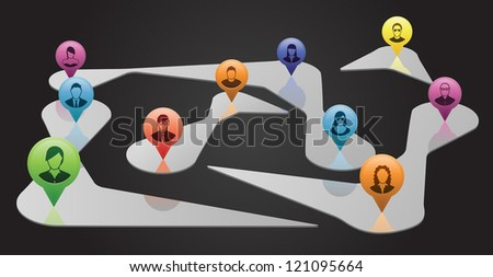 Group of people represented by map pointers are connected in the social media universe. - stock vector