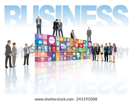 Group of people shows now developed business web page or software  - stock vector