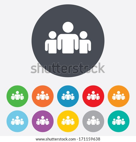 Group of people sign icon. Share symbol. Round colourful 11 buttons. Vector - stock vector