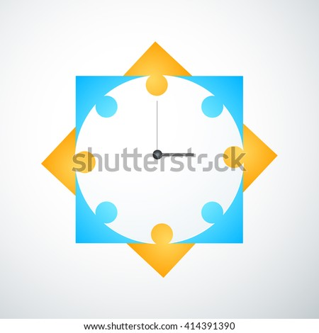 Group of people spending time together. Coworkers office meeting table. Working people thinking, brainstorming with time management. Vector Modern white illustration background. - stock vector