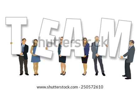 Group of people standing and holding big letters. - stock vector