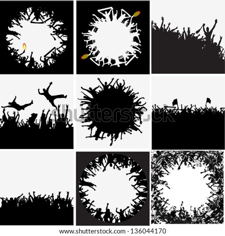Group of people vector backgrounds - stock vector