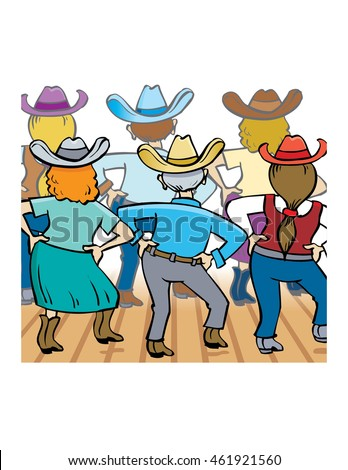 Group of people wearing Western clothing line dancing, vector illustration