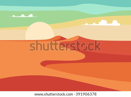 Group of People with Camels Caravan Riding in Realistic Wide Desert Sands in Middle East.  Editable Vector Illustration - stock vector