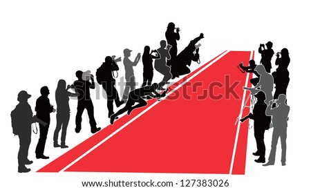 group of people with camera near red carpet vector silhouettes