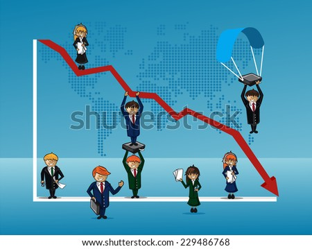Group of people with chart arrow pointing down. Default or earnings fall concept. EPS10 vector file organized in layers for easy editing. - stock vector