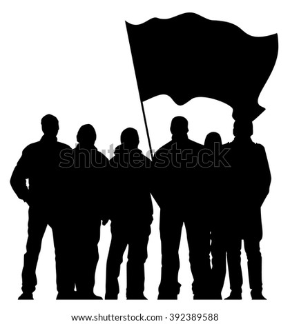 group of people with flag - stock vector