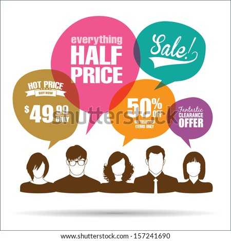 Group of people with sale promotion speech bubbles - stock vector