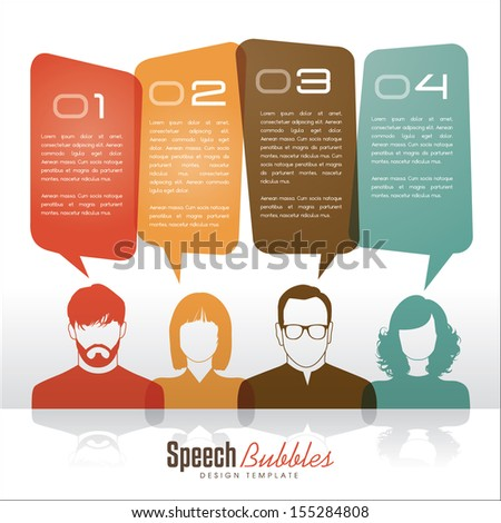 group of people with speech bubbles - stock vector