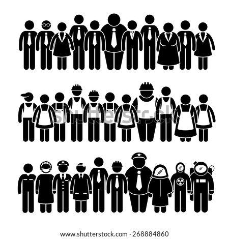Group of People Worker from Different Profession Stick Figure Pictogram Icons - stock vector