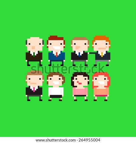 Group of pixel art office people - stock vector